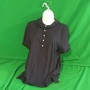 Tory Burch large ruffle pearl button navy polo